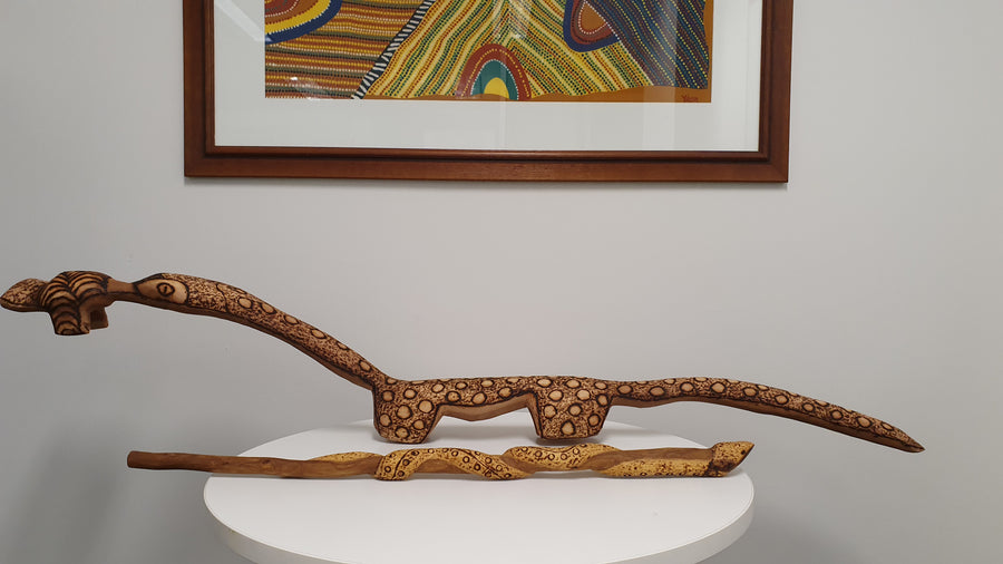Indigenous-Art-Goanna-Wood-Carving-Robert-Tilmouth
