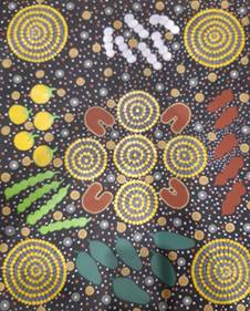 Indigenous-Art-Women-Gathering-Bush-Tucker-Phyllis-Walden