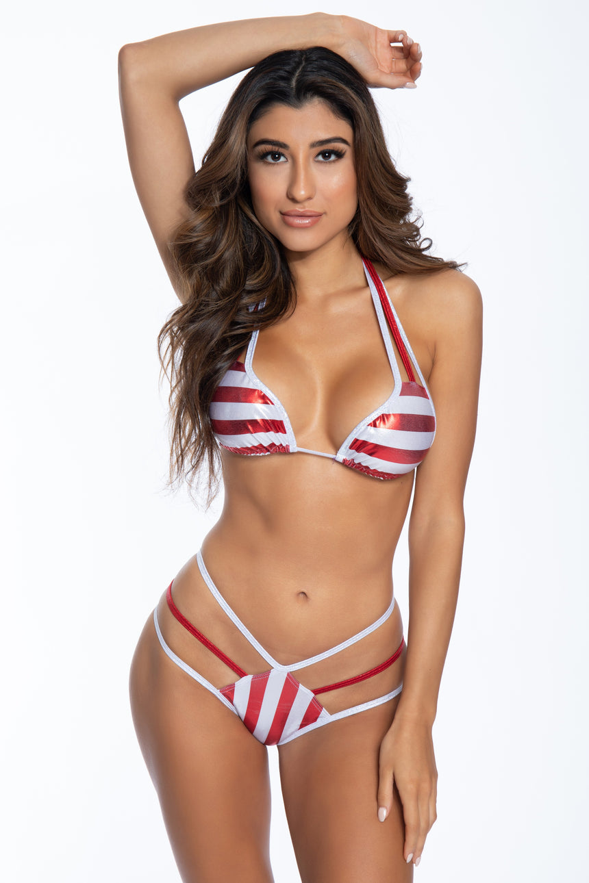3 Strap Curved Tri-Top - Candy Cane