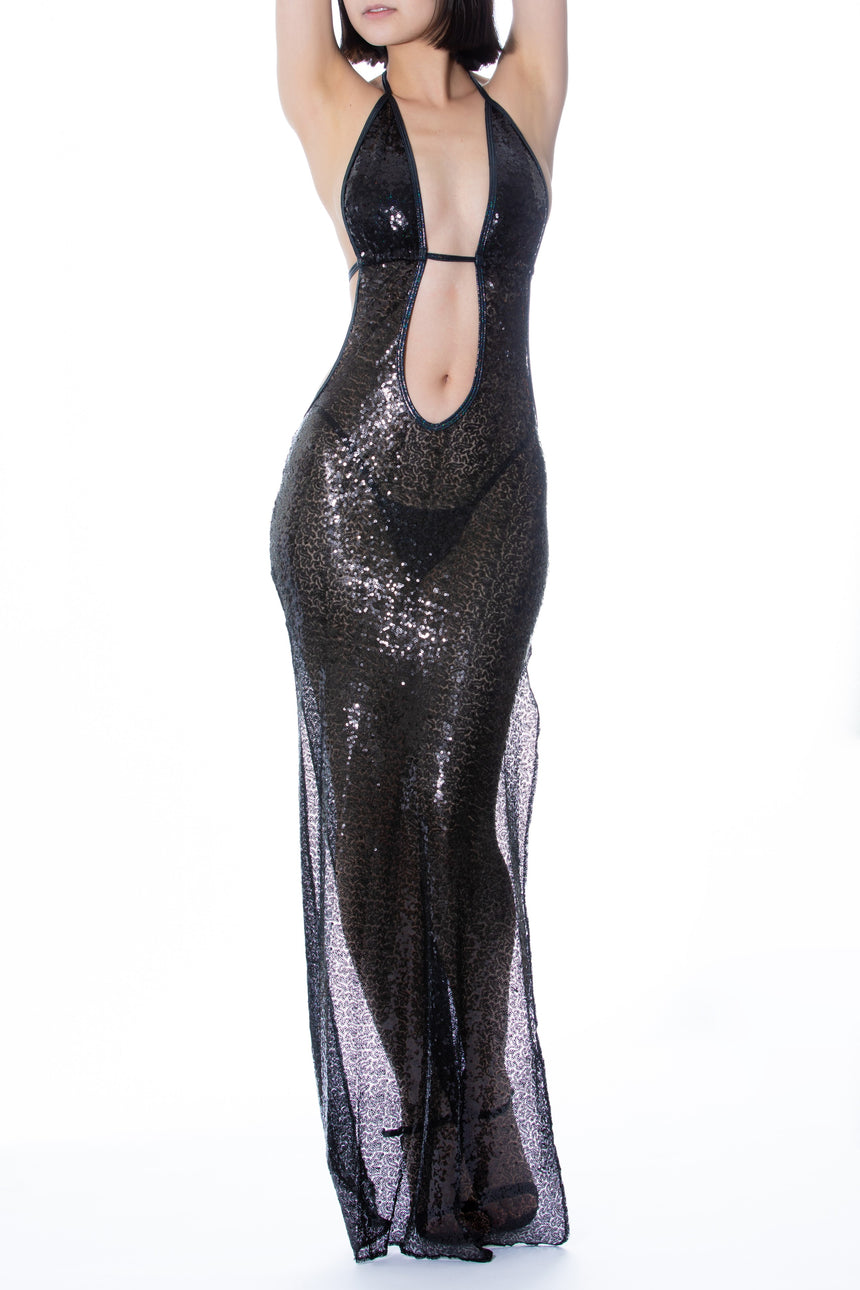 #8004 Sequin Gown w/ V-Back - Sequin
