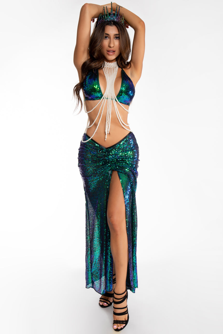 #7001-04 Long Scrunch Skirt - Sequin