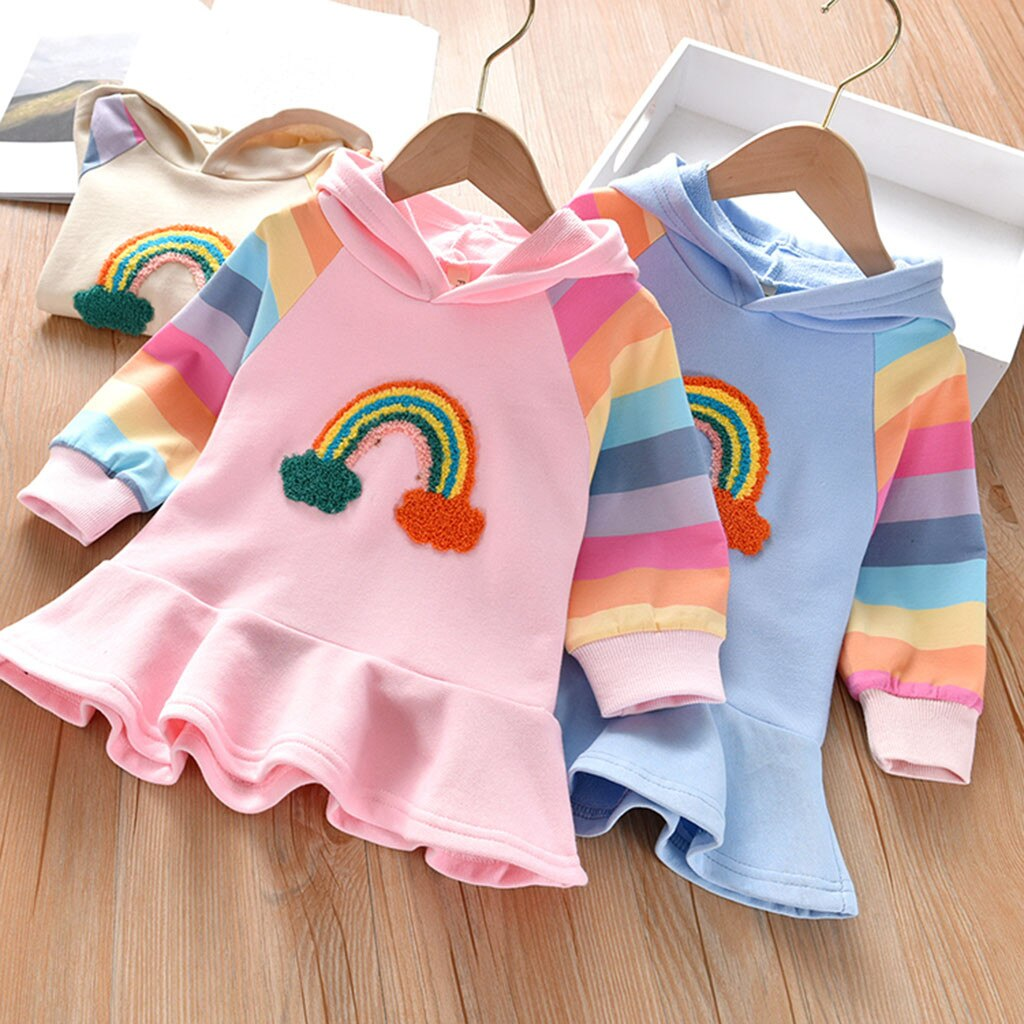 Baby Girls Dress Toddler Kids Rainbow Striped Hooded Princess Dresses for Girl Long Sleeve Autumn Winter Casual Clothes 2020