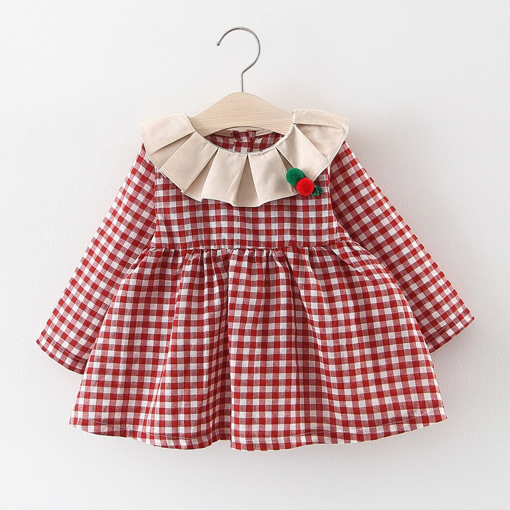 Toddler Girls Clothes Baby Kids Dress Ruched Ruffles Plaid Print Dresses for Girl Autumn Long Sleeve Casual Clothes Dress 2019