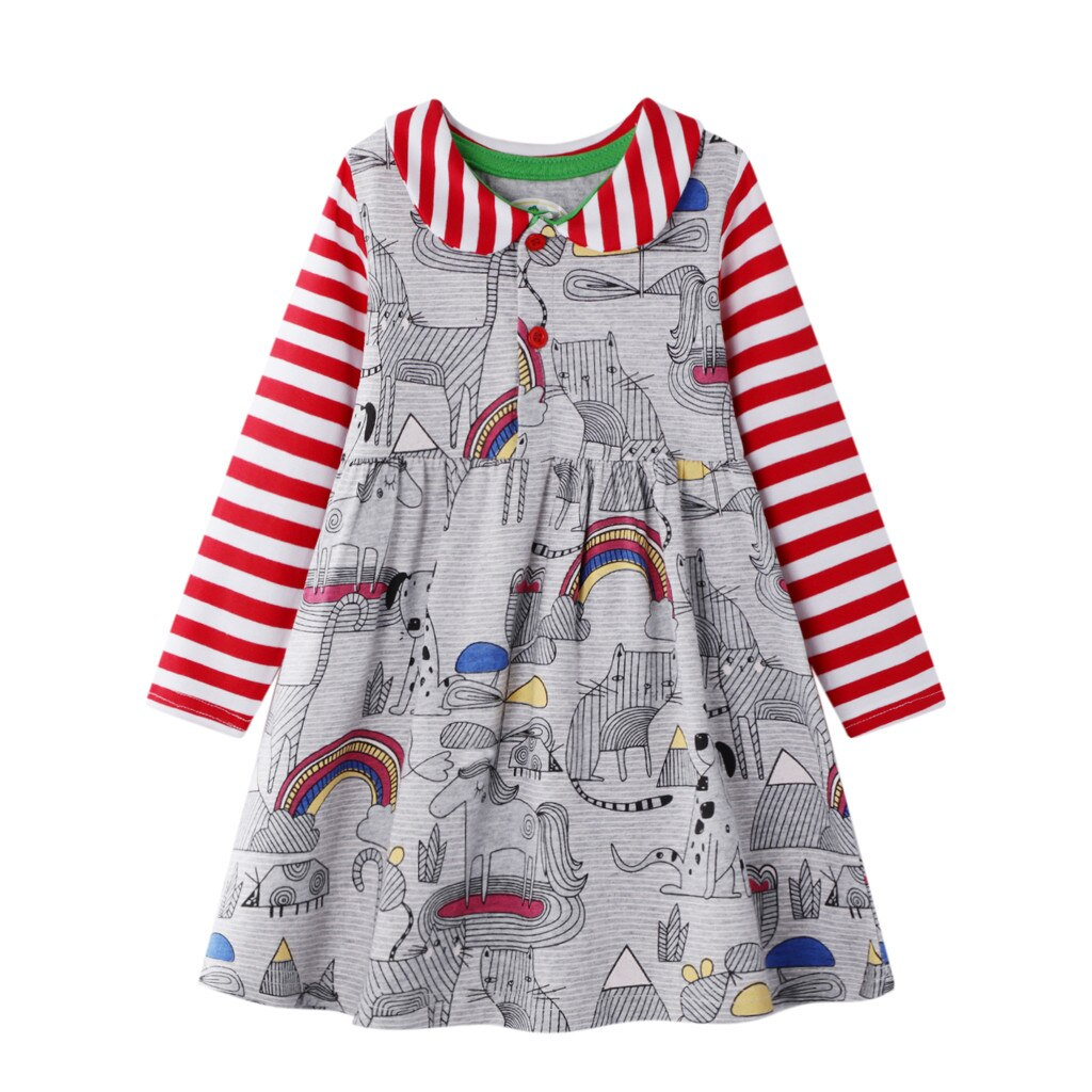 Baby Girls Dress Rainbow Print Cartoon Animal Princess Dresses for Girl Long Sleeve Spring Clothes Baby Costume Outfits 2020