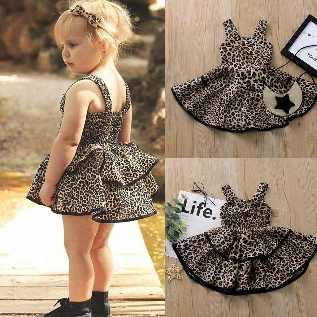 Baby Girls Dress Toddler Kids Strap Ruffles Leopard Print Princess Dresses for Girl Summer Sleeveless Formal Party Dress Clothes