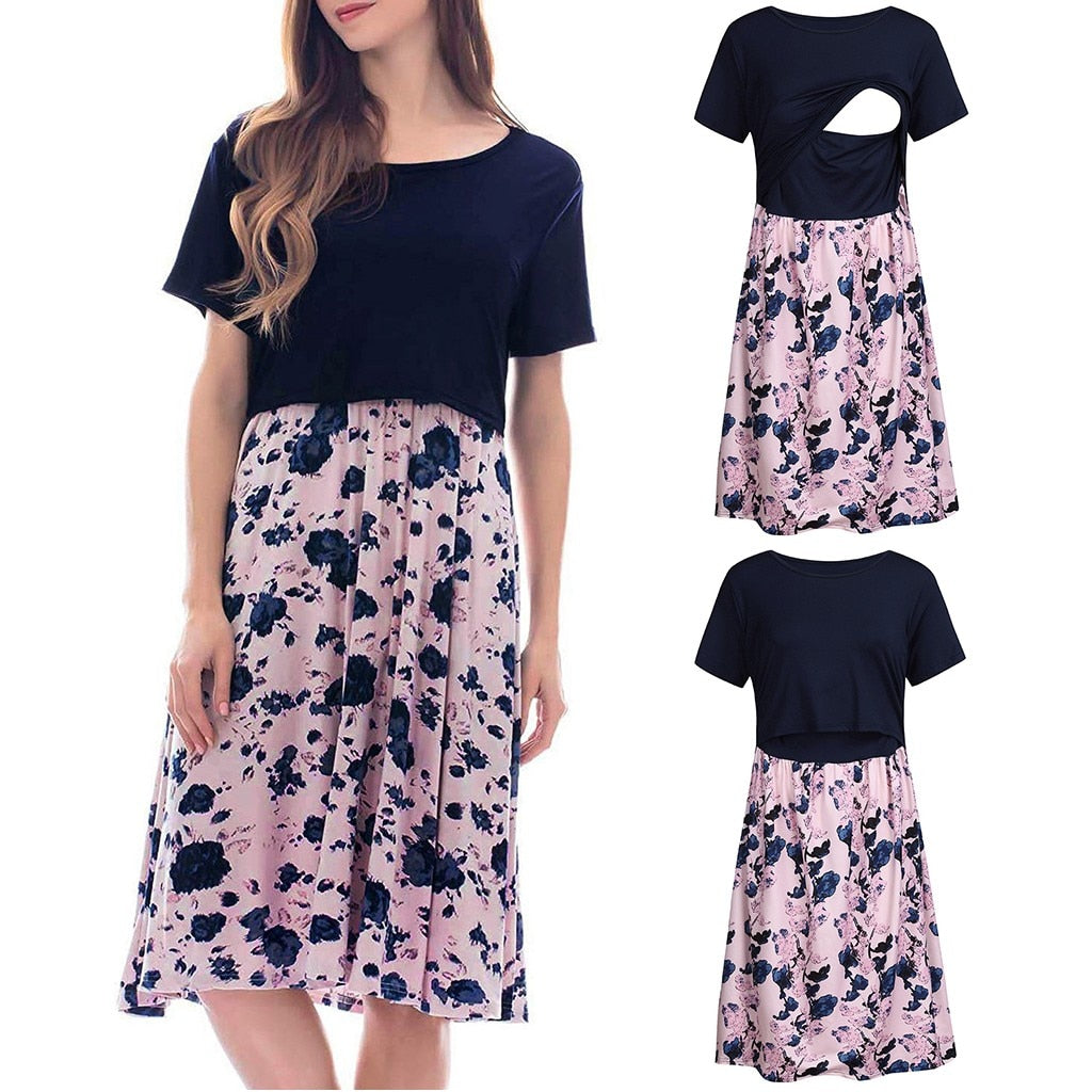 vetement femme Women's Maternity Short Sleeve Floral Print Nursing Dresses for Breastfeeding Maternal Pregnancy Dress 2019