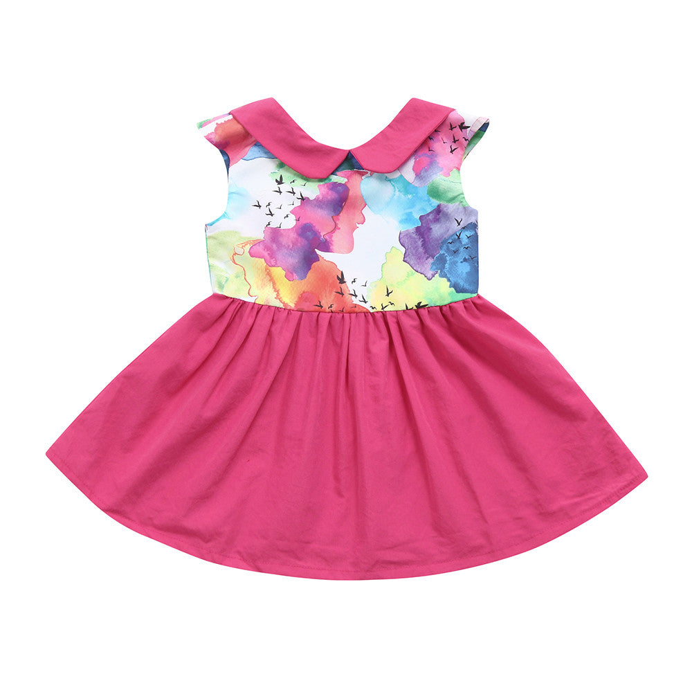 MUQGEW Baby Girls Dress 2018 Toddler Infant Baby Ink Painting Print Backless Dresses Children Kids Party Princess Dress Clothes