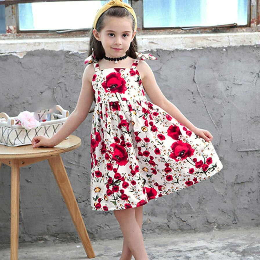 MUQGEW Baby Girls Dress Summer Beach Style Floral Print Party Dresses For Girl 2018 Strapy Backless Princess Dress Kids Vestidos
