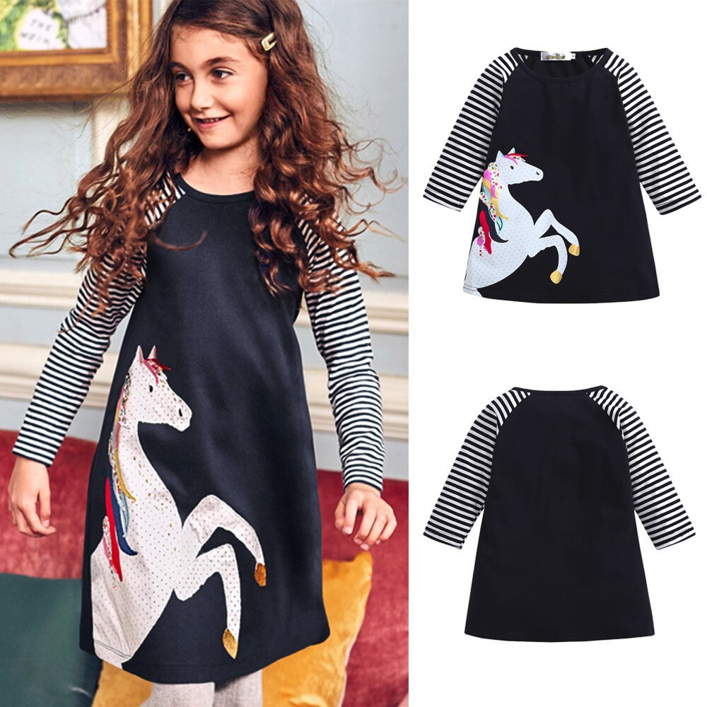 Baby Girl Dress Toddler Kids Auttmn Long Sleeve Clothes Dresses For Girl Horse Stripe Print Casual Princess Party Dress vestido