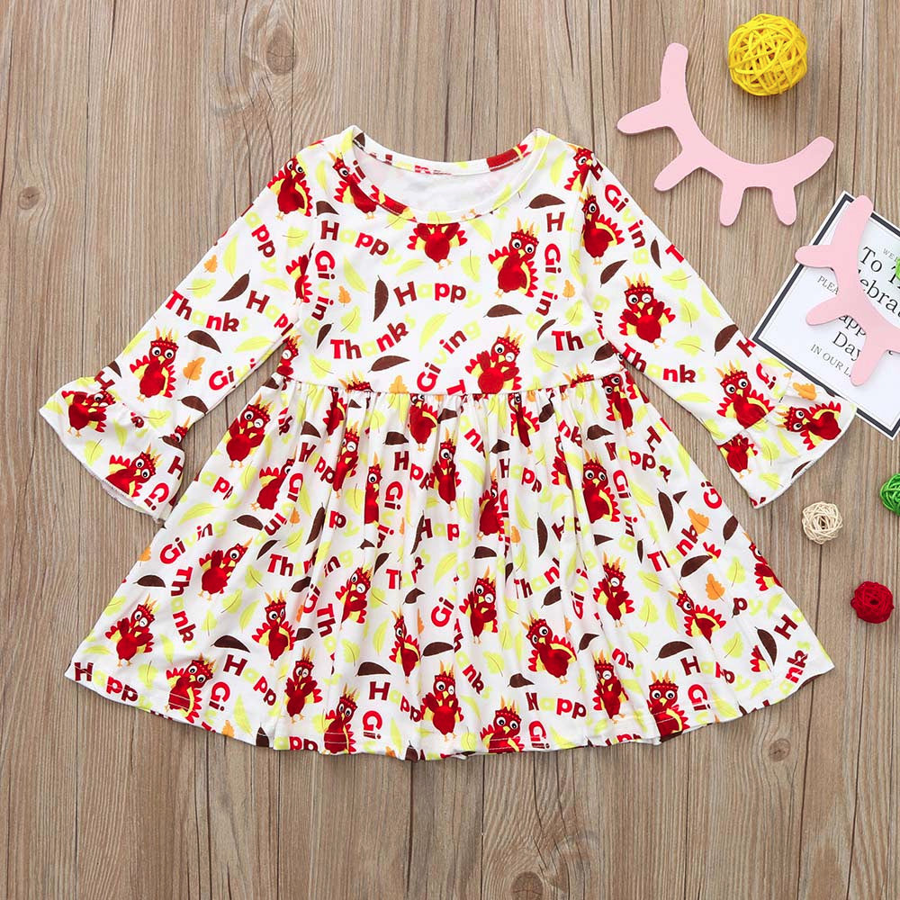 Toddler Girls Dress Children Baby Turkey Thanksgiving Letter Print Dress Infant Baby Christmas Princess Dresses Clothes Outfits