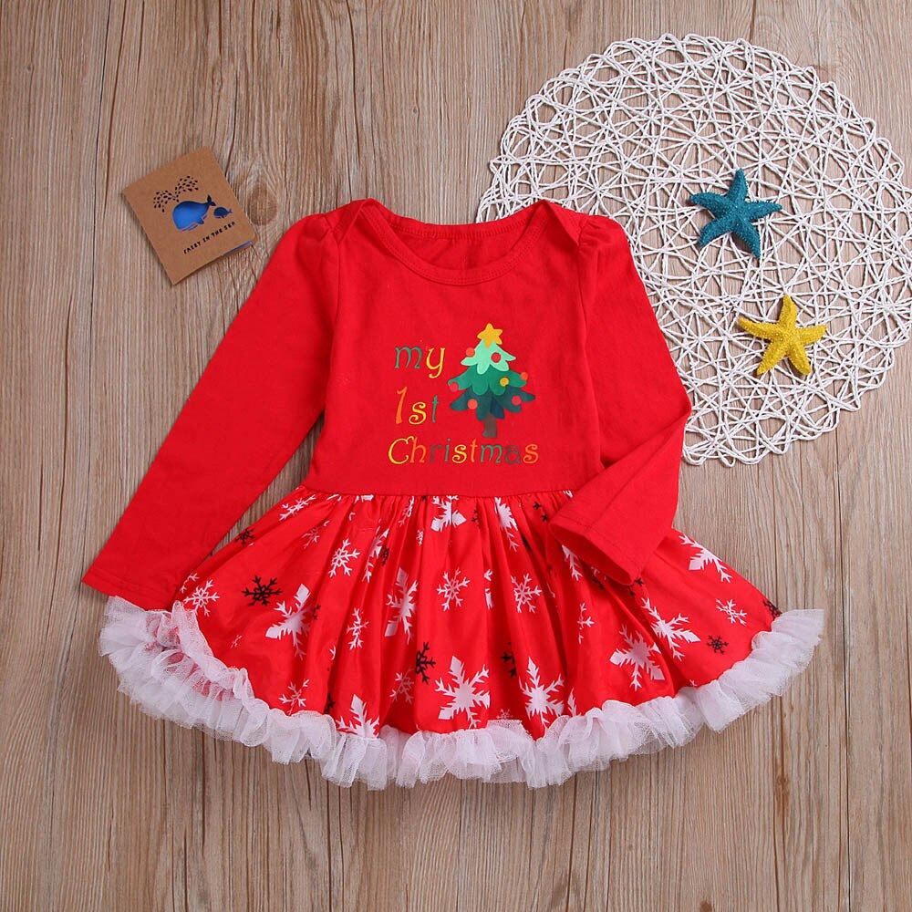 Toddler Baby Girls Dress Letter Print Cartoon Christmas Lace Tutu Romper Dresses Xmas Party Princess Dress Kids Vestido Outfits