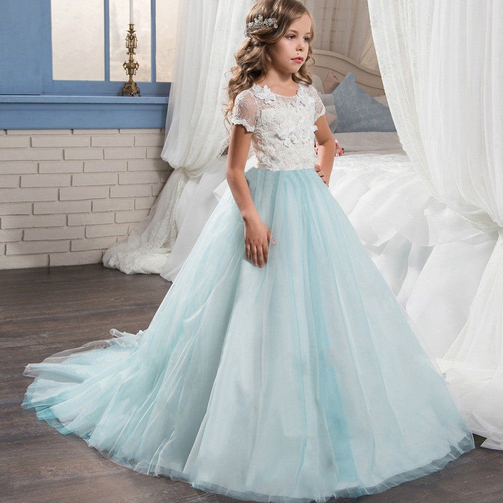 Kids Floral Print Dress For Girls Embroidered Formal Bridesmaid Wedding Girl Princess Dresses Costume Party Tutu Lace Dresse
