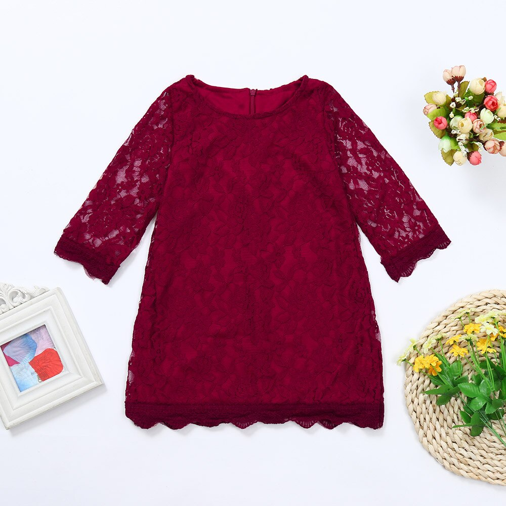 Baby Girls Dress Kids Flower Lace Long Sleeve Dresses 2018 Toddler Infant Girl Auttmn Party Country Princess Dress Outfits #20