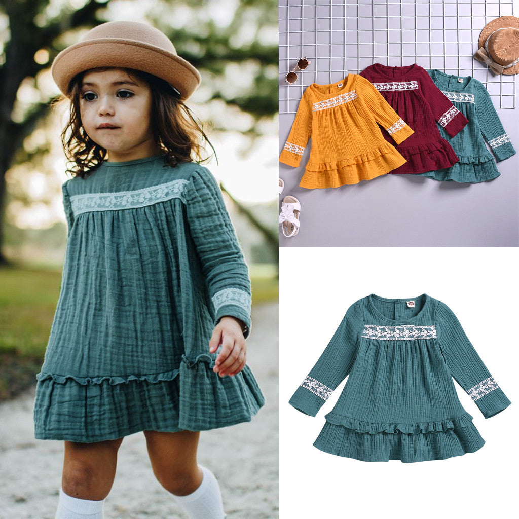 Baby Girls Autumn Dress Toddler Infant Baby Solid Lace Ruffle Princess Dresses for Girl Long Sleeve Children Kids Clothes 2019