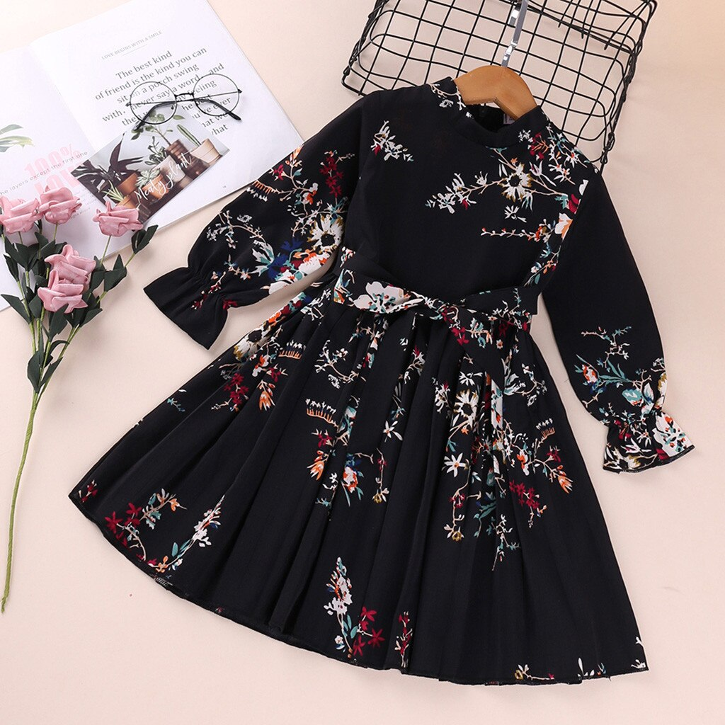 Teen Kids Dress Baby Girls Clothes Long Sleeve Flower Print Princess Dresses for Girl Spring Costume Outfits Suit for 1-5Years