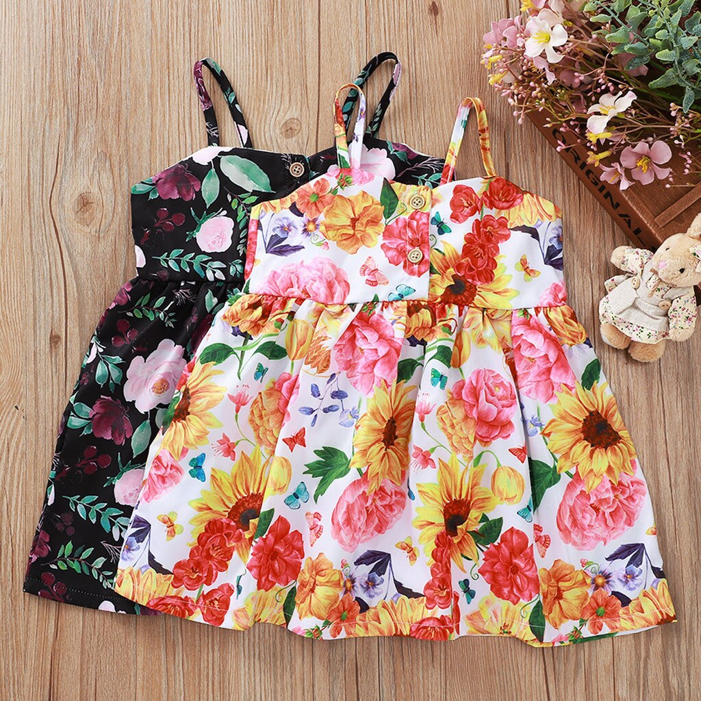 Toddler Baby Girls Dress Kids Summer Sleeveless Floral Print Dresses for Girl Casual Beach Sundress Children Clothes 6M-3Y