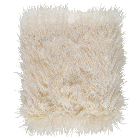 cream faux fur throw