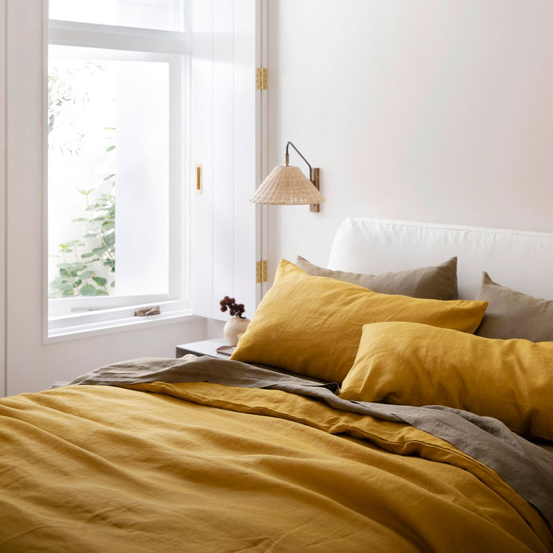Mustard Linen Sheet Set with Pillowcases