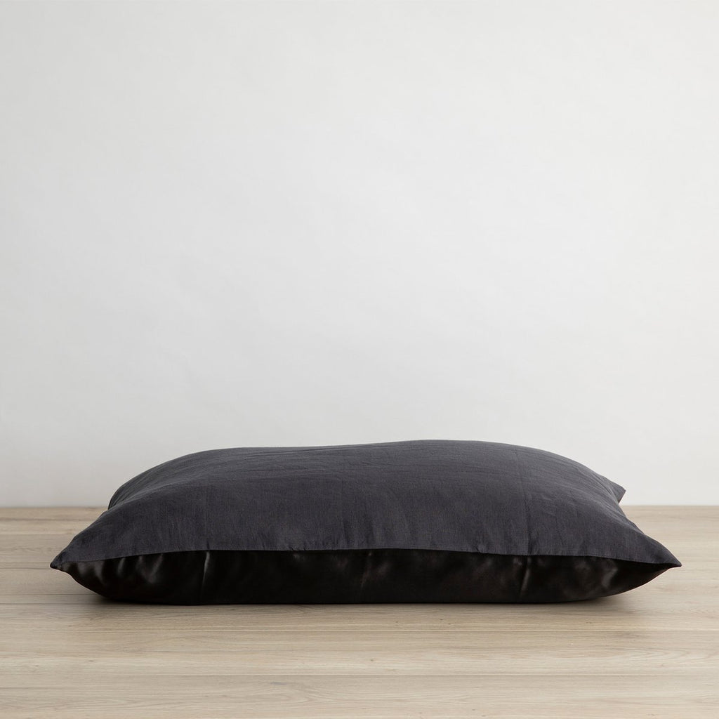 Silk Linen Flip Pillowcase ~ Slate