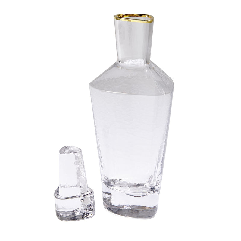 Hammered Clear Decanter with Gold Rim