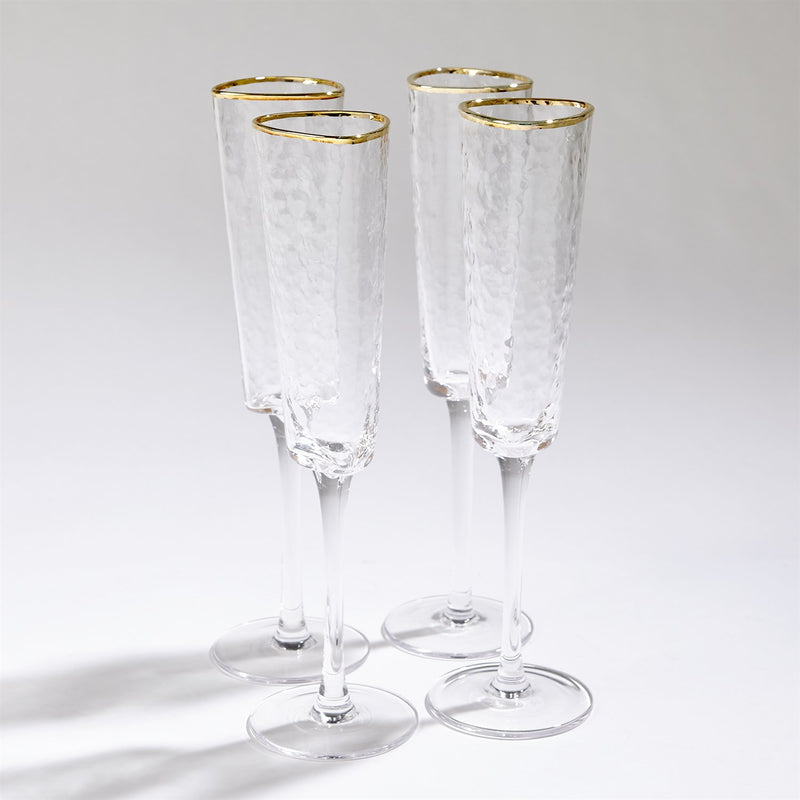 Hammered Champagne Glass Clear with Gold Trim