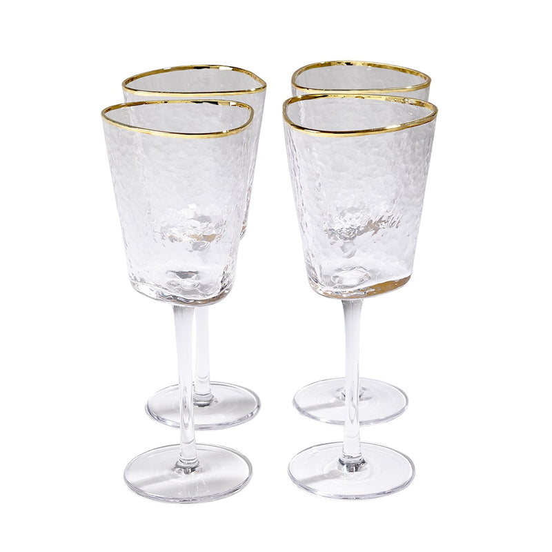 Hammered Footed Wine Glasses with Gold Trim