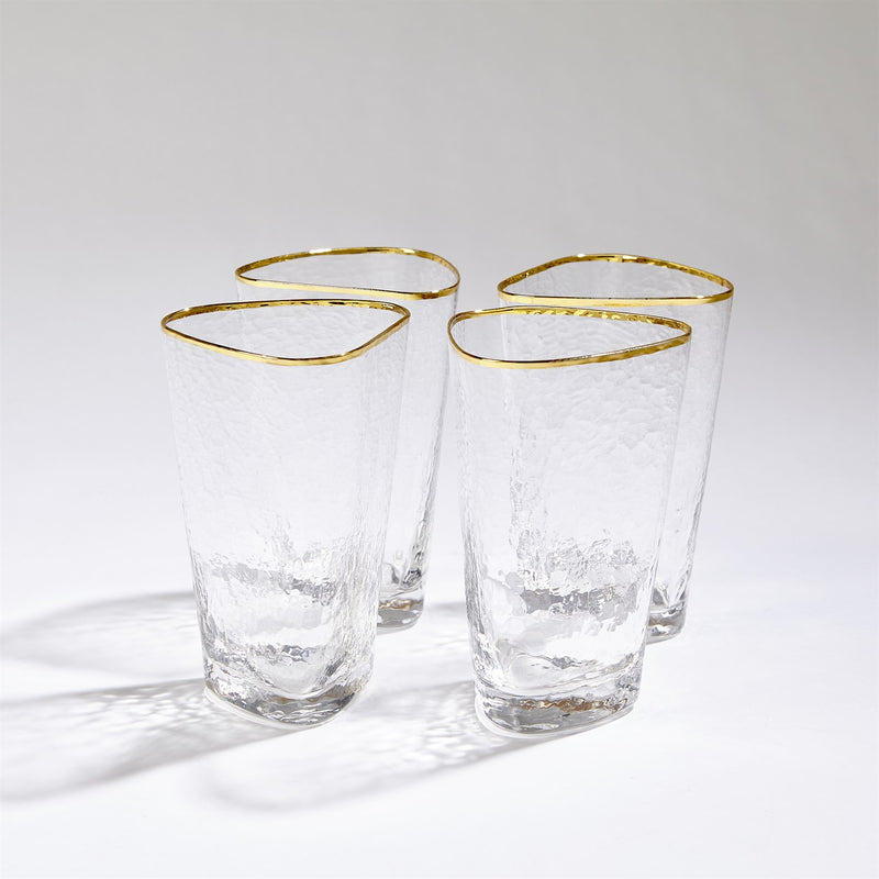 Hammered High Ball Glasses-Clear W/Gold Rim