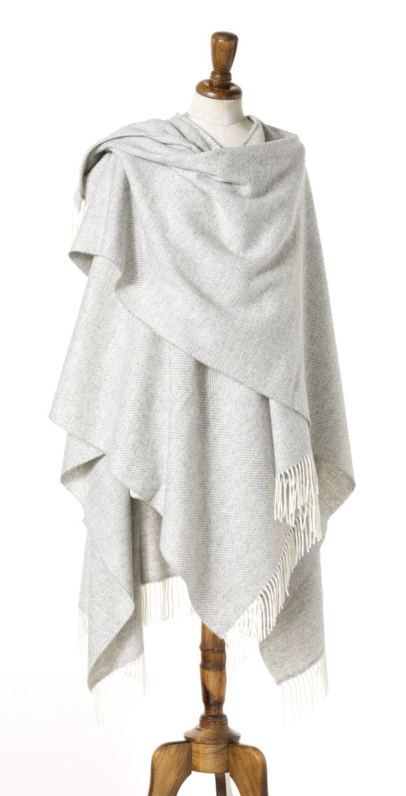 Merino Lambswool Herringbone Wrap ~ Grey