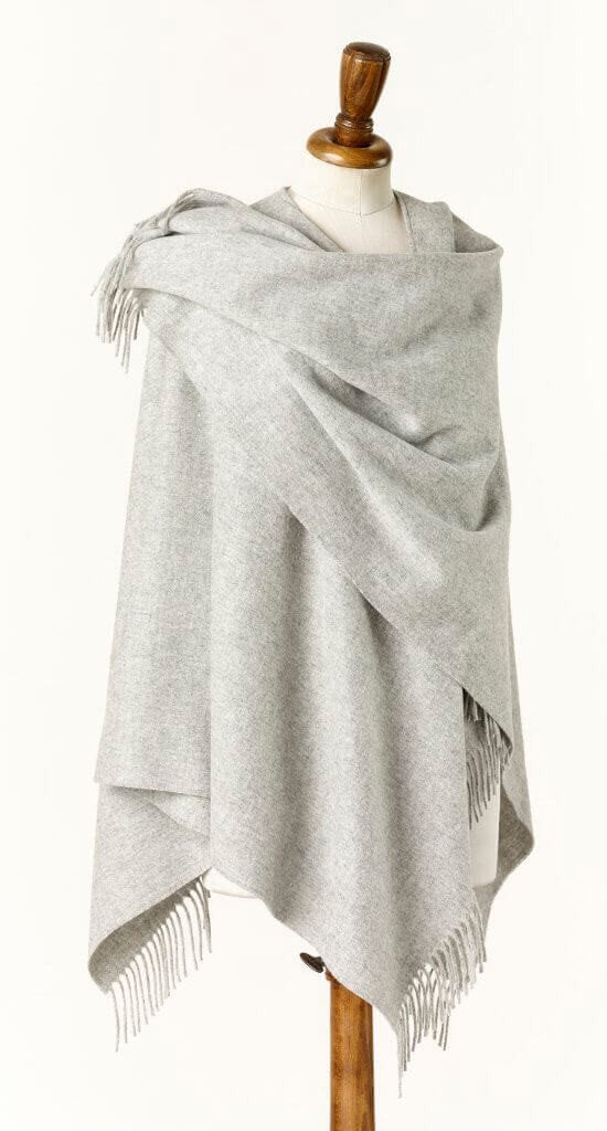 Merino Lambswool Solid Wrap ~ Silver