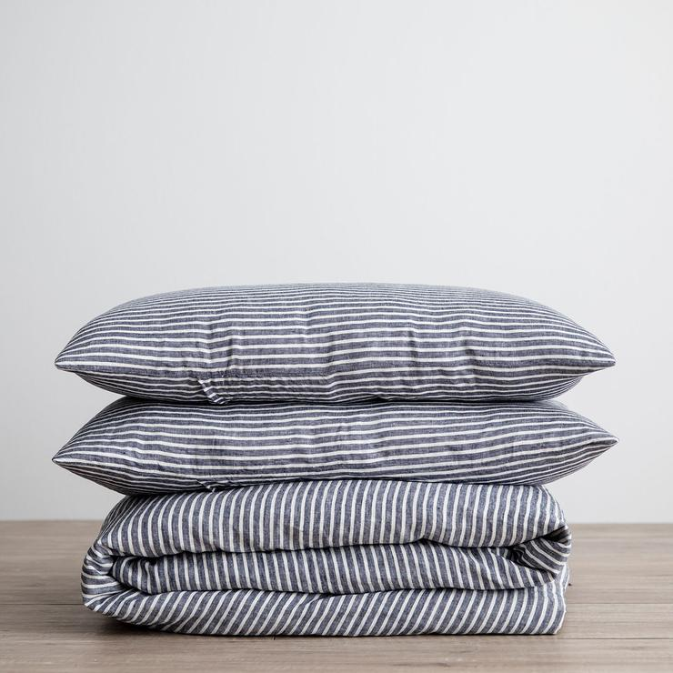 Linen Duvet Cover Set- Indigo Stripe