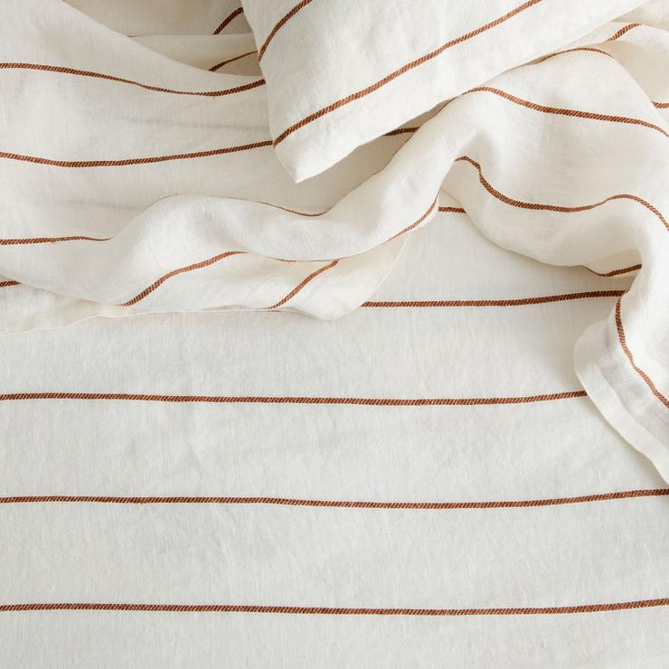 Linen Duvet with Pillowcases ~ Cedar Stripe