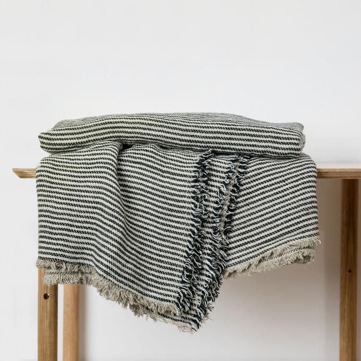 Mira Linen Throw in Ellis Stripe