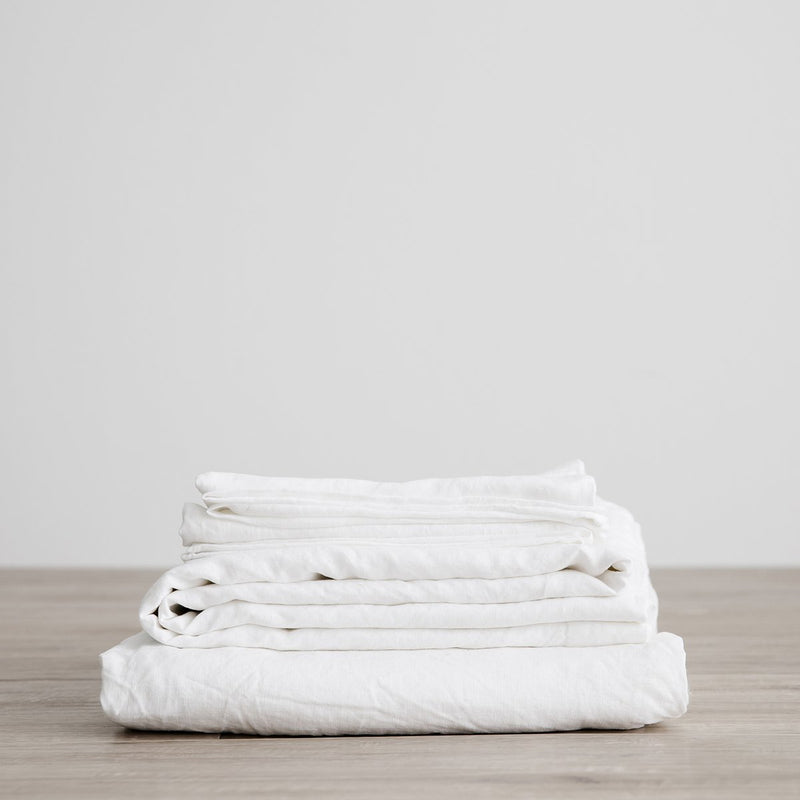Linen Sheet Set With Pillowcases in White