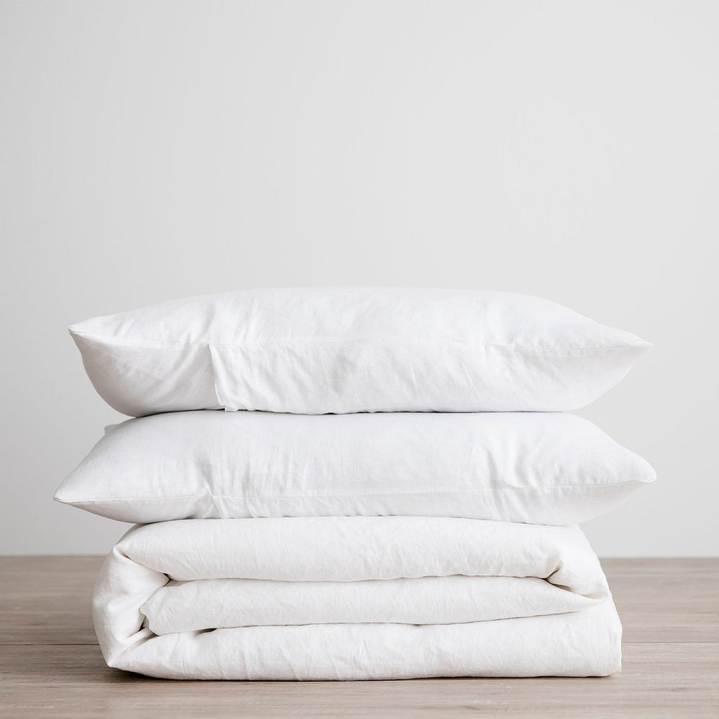 Linen Duvet Cover Set - White