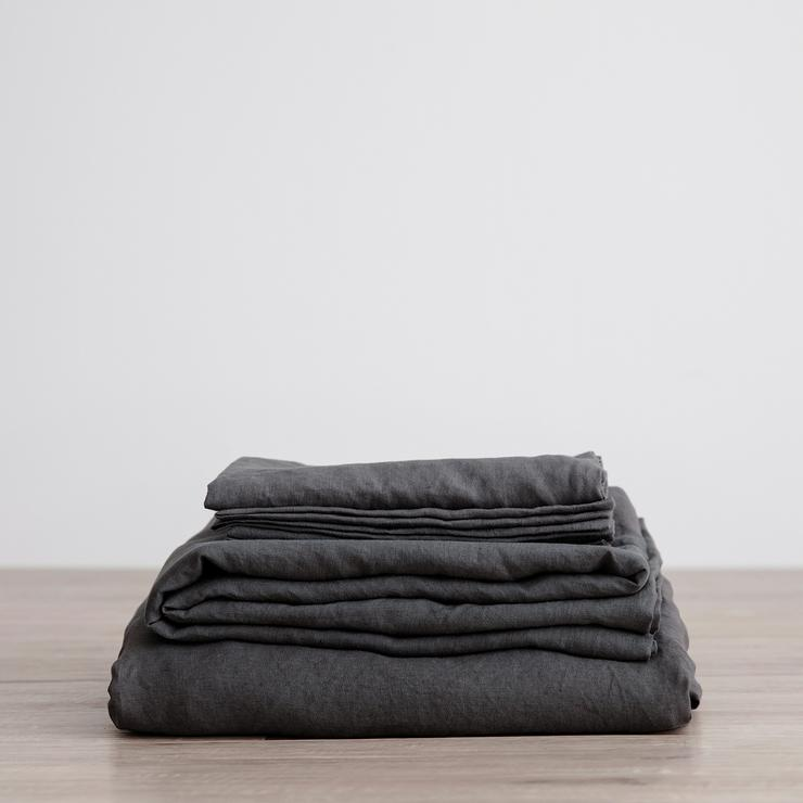 Slate Linen Sheet Set with Pillowcases