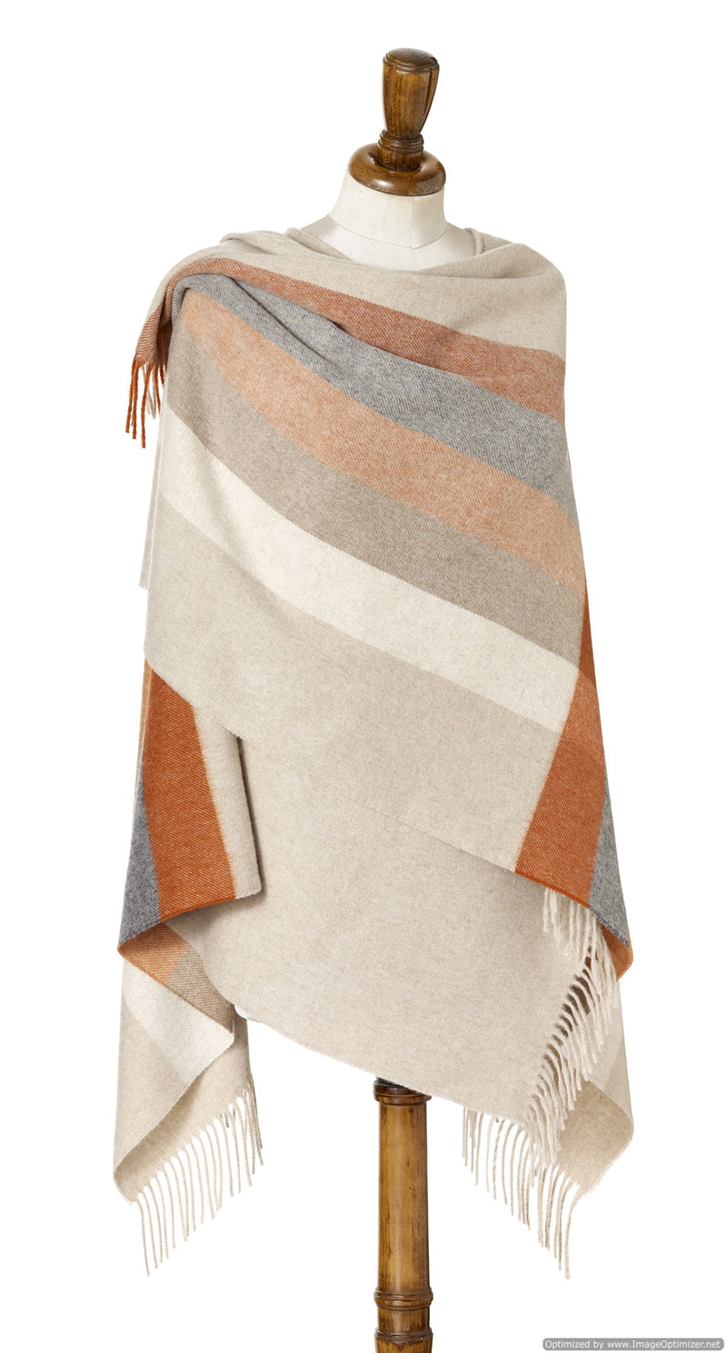 Merino Lambswool Stripe Wrap ~ Burnt Orange
