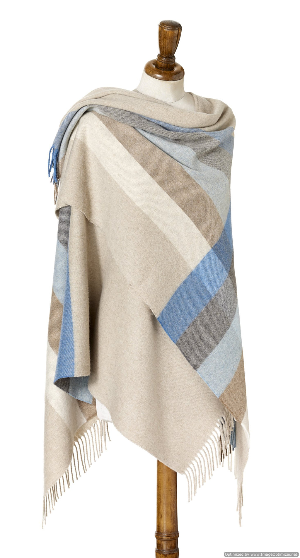 Merino Lambs wool Stripe Wrap ~ Aqua