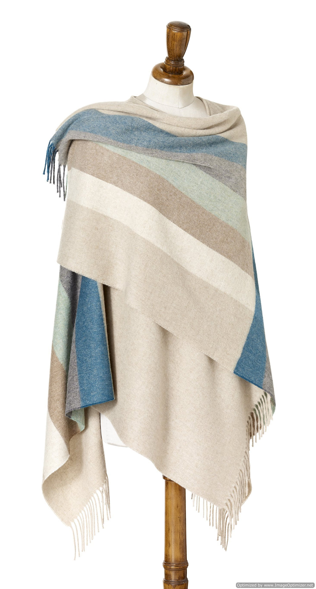 Merino Lambs wool Stripe Wrap ~Eucalyptus