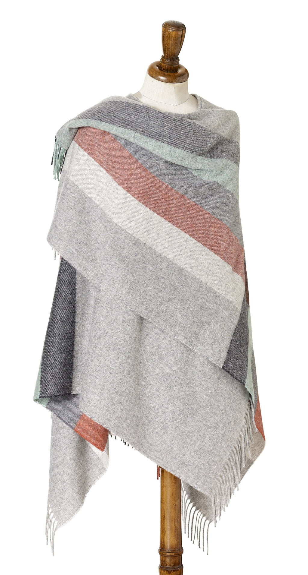 Merino Lambswool Stripe Wrap~Coral Mint