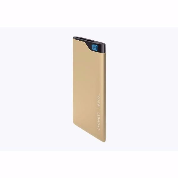 Cygnett ChargeUp Digital 6,000mAh Portable Power Bank in Gold