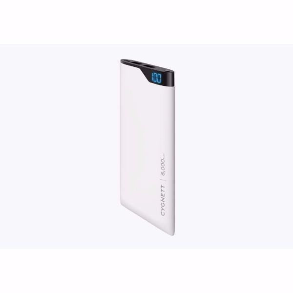 Cygnett ChargeUp Digital 6,000mAh Portable Power Bank in White