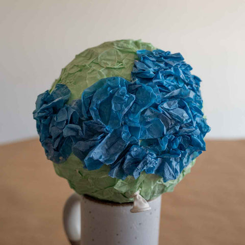 recycled tissue paper crafts Earth Day globe