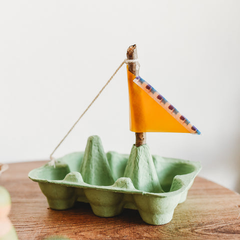 Earth Day Recycled Egg Carton Boat Eco Friendly Craft