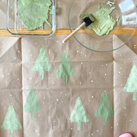 Handpainted recycled wrapping paper green your holidays eco-friendly