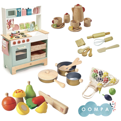A play kitchen and accessories from Oompa Toys.