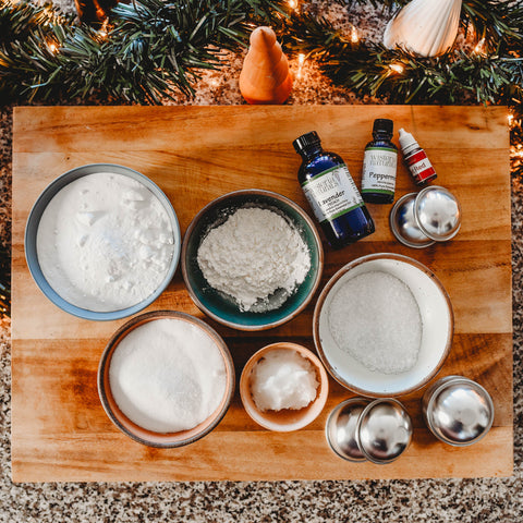 Ingredients for DIY Kid friendly bath bombs gift for santa