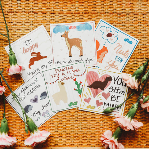 A series of 6 handdrawn printable Valentine's cards featuring Tenderleaf Toys Woodland Animals.
