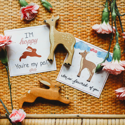 Flowers and Tenderleaf Toys deer and hare next to printable Valentine's Cards.