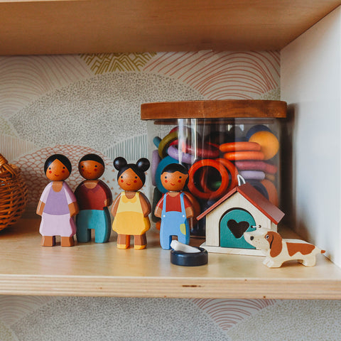 Tender Leaf Toys Sunny Family on a toy shelf.