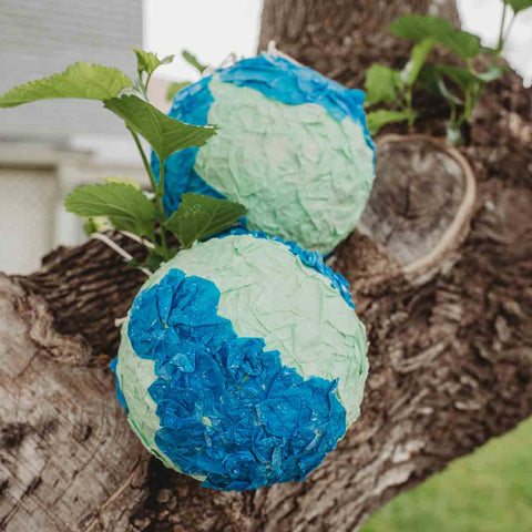 Earth Day paper mache globe sustainable eco-friendly art project for kids